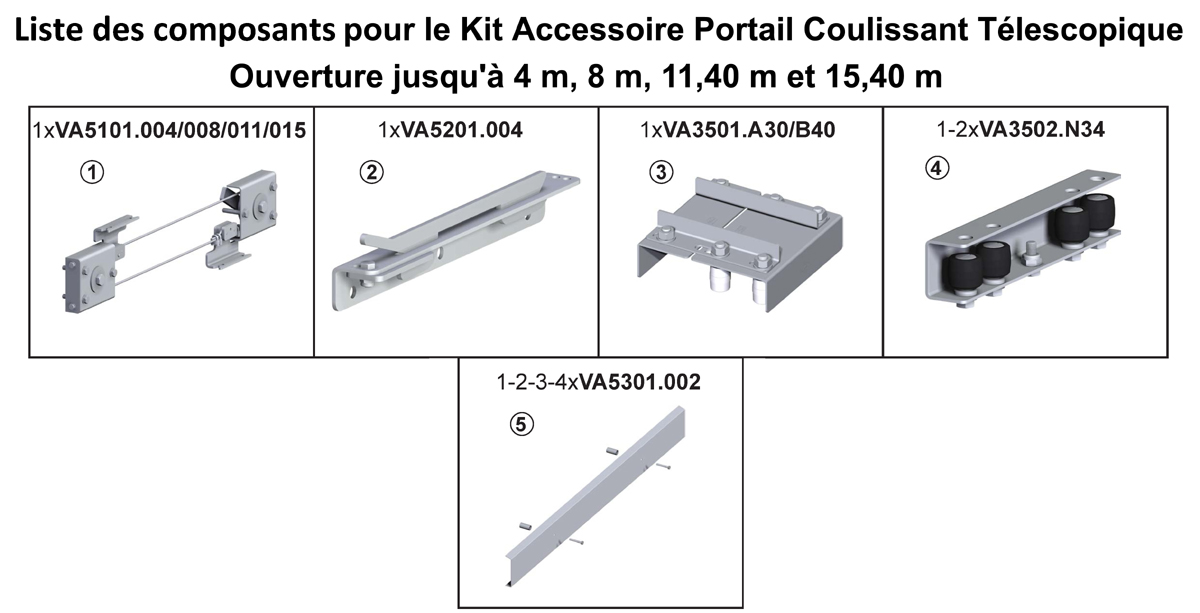 Kit portail coulissant t lescopique ouverture jusqu 39 4 - Portail coulissant telescopique ...
