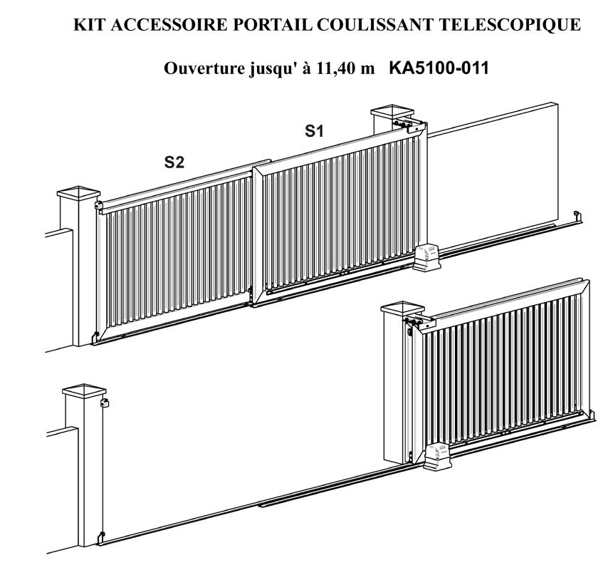 kit portail coulissant t lescopique ouverture jusqu 39 11 40 m tres portails coulissants. Black Bedroom Furniture Sets. Home Design Ideas