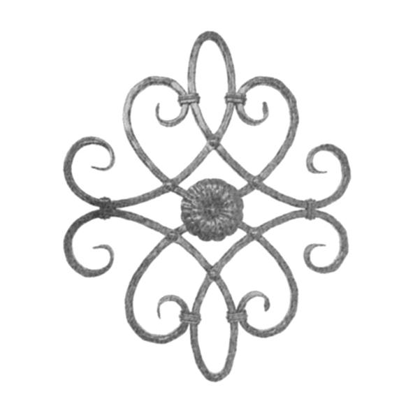 rosace d corative hauteur 520 mm x 420 mm largeur panneaux d coratifs elements en fer forg. Black Bedroom Furniture Sets. Home Design Ideas